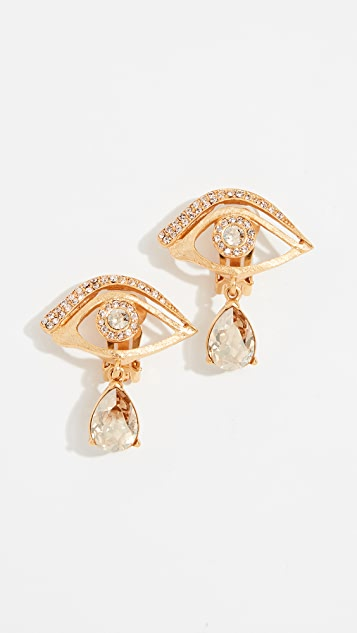 Oscar de la Renta Pave Eye Earrings