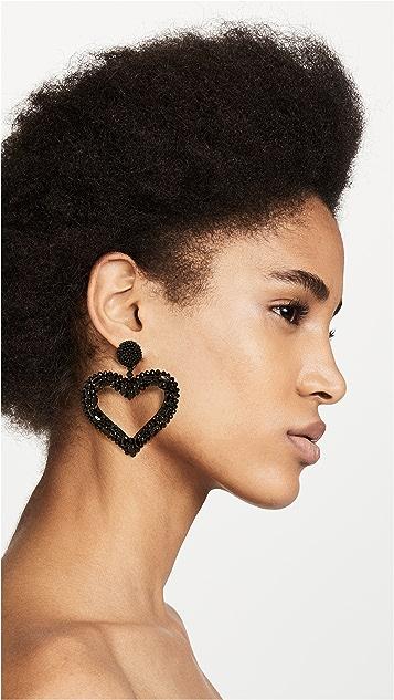 Oscar de la Renta Jeweled Heart Clip On Earrings
