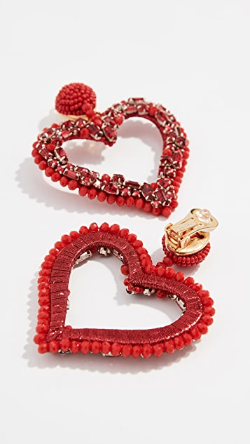Oscar de la Renta Jeweled Heart Clip On Earrings