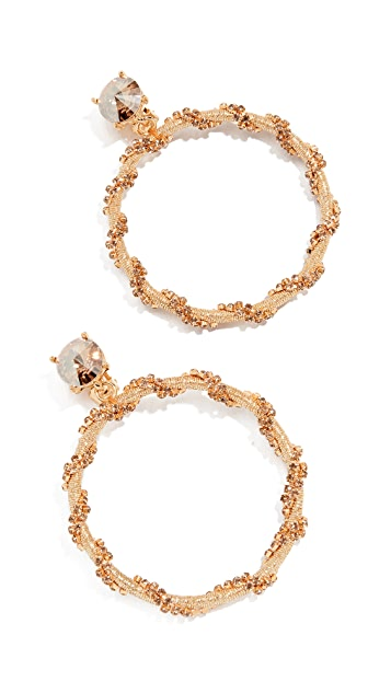 Oscar de la Renta Crystal Chain Hoop Earrings
