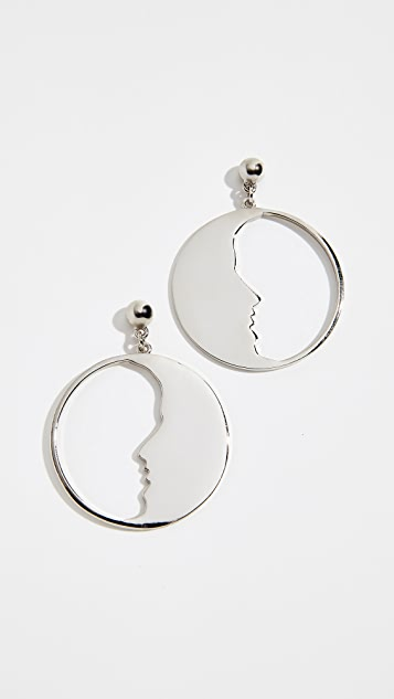 Oscar de la Renta Small Moon Hoops Earrings