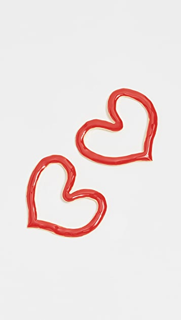 Oscar de la Renta Painted Heart Outline Earrings