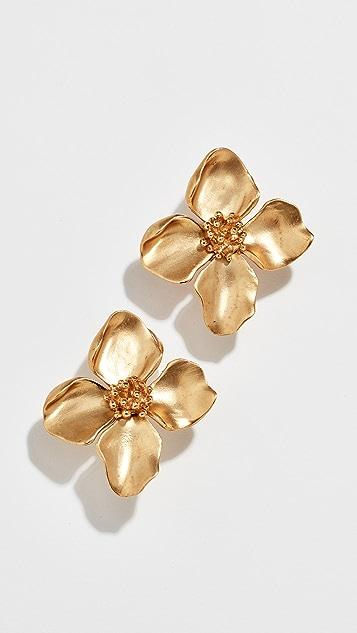 Oscar de la Renta Small Gold Flower Button Earrings