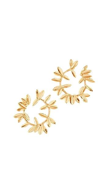 Oscar de la Renta Dot Leaf Hoop Earrings