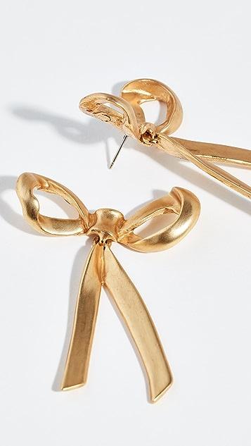 Oscar de la Renta Metal Bow Earrings