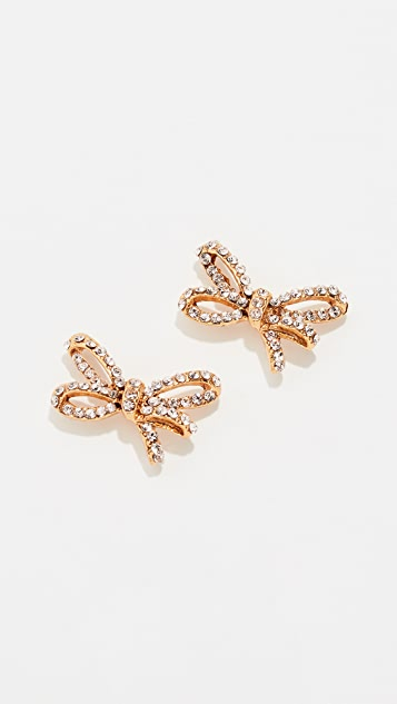 Oscar de la Renta Pave Metal Bow Earrings