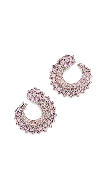 Oscar de la Renta Crystal Curved Earrings
