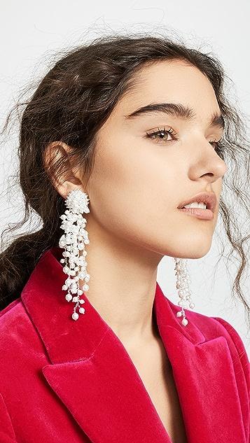 Oscar de la Renta Delicate Flower Chain Drop Earrings
