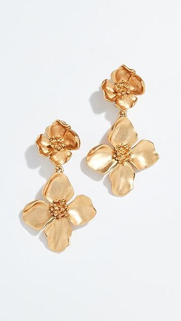 Oscar de la Renta Flower Drop Earrings
