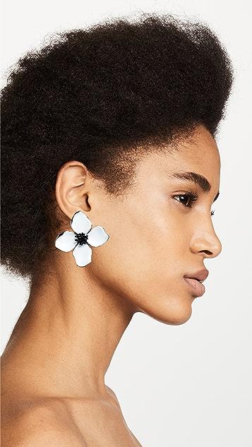 Oscar de la Renta Painted Flower Button Earrings