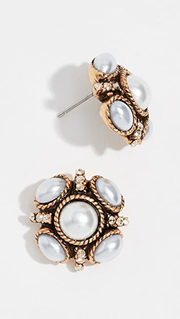 Oscar de la Renta Classic Button Earrings