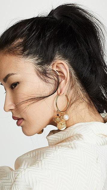 Oscar de la Renta Brass Bead Earrings