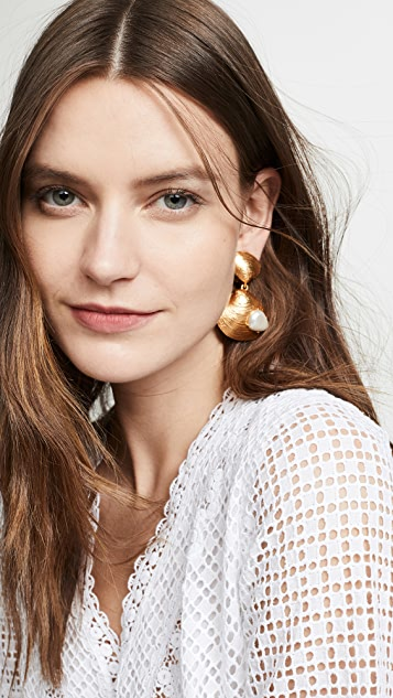Oscar de la Renta Clam Shell Earrings