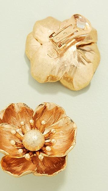 Oscar de la Renta Poppy Flower C Earrings
