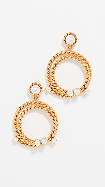 Oscar de la Renta Rope Imitation Pearl Hoop Earrings