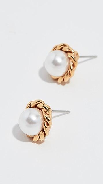 Oscar de la Renta Rope Button P Earrings