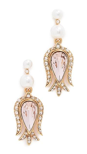 Oscar de la Renta Tulip Pave Earrings