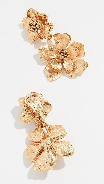 Oscar de la Renta Classic Flower Drop Earrings