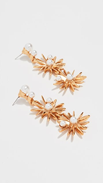 Oscar de la Renta Classic Swarovski Crystal Pearl Starburst Earrings