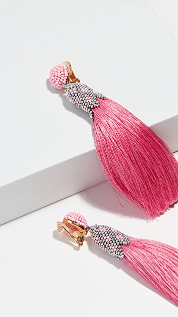 Oscar de la Renta Beaded Tassel C Earrings