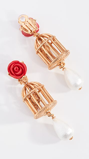 Oscar de la Renta Birdcage Earrings