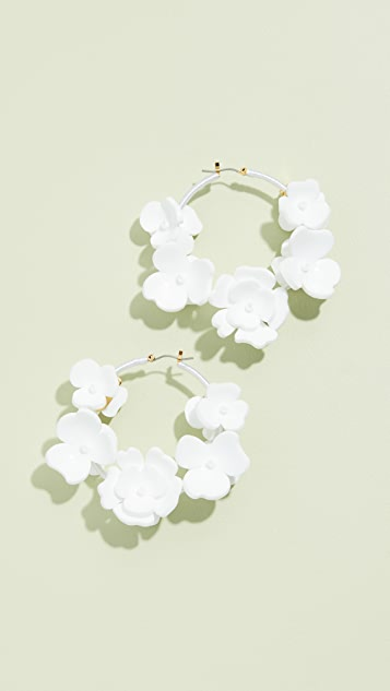 Oscar De La Renta Flower Garden Hoop Earrings