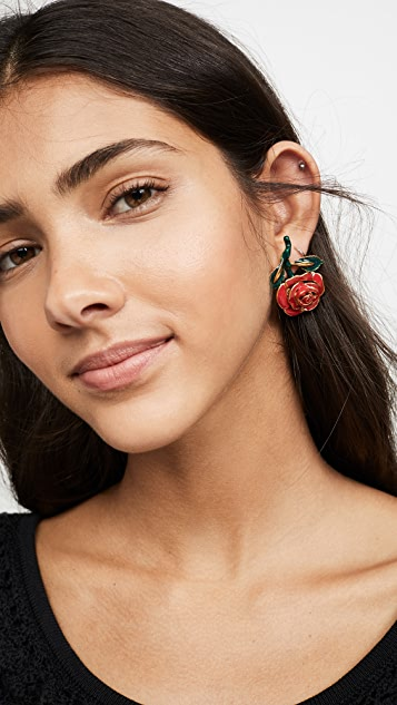 Oscar de la Renta Petite Rose Resin Earrings