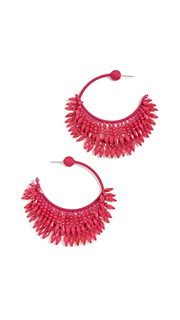 Oscar de la Renta Beaded Half Hoops