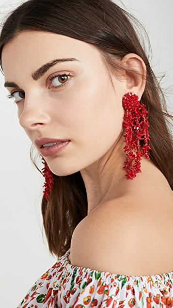 Oscar de la Renta Beaded Cascade Drop Earrings