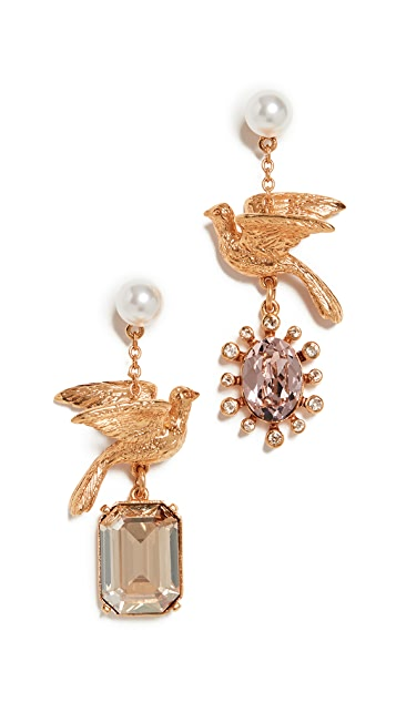 Oscar de la Renta Mixed Stone Dove Earrings