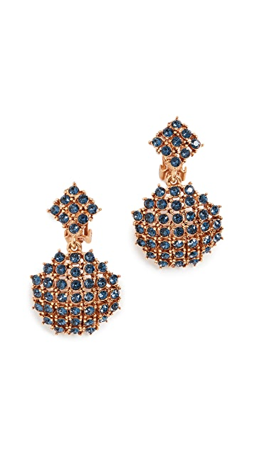 Oscar de la Renta Pave Round Stone Earrings
