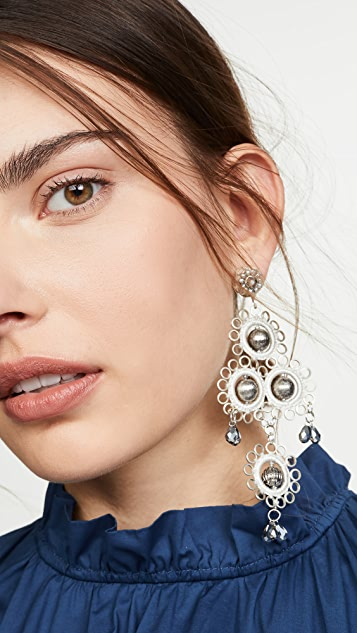 Oscar de la Renta Mixed Stone and Crystal Earrings
