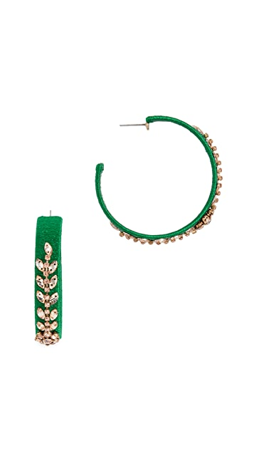 Oscar de la Renta Crystal Beaded Hoops