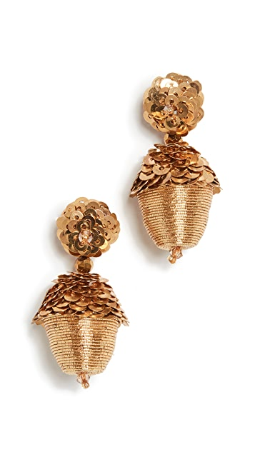 Oscar de la Renta Beated Drop Acron Earrings