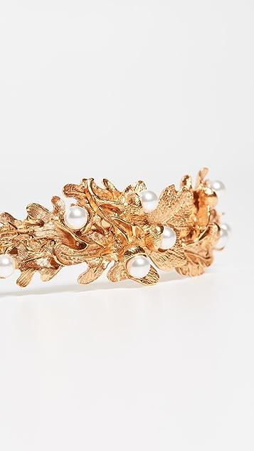 Oscar de la Renta 橡果和叶子珍珠发带