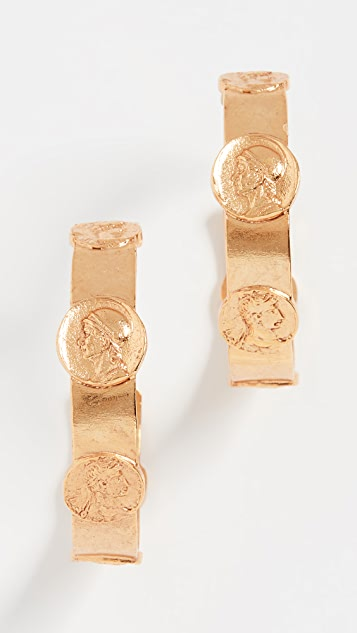 Coin Hoop Earrings by Oscar De La Renta