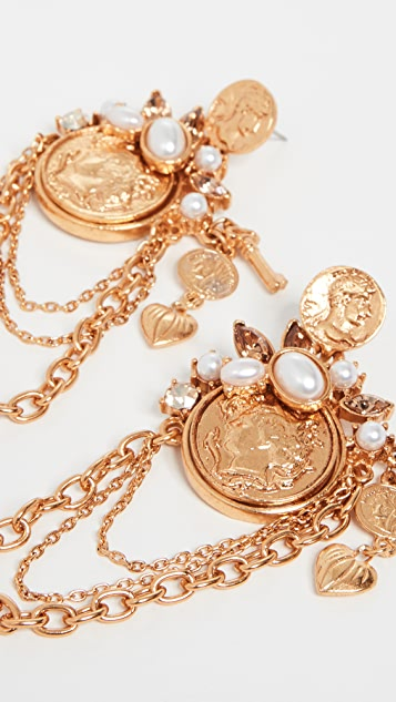 Oscar de la Renta Coin & Charm Earrings
