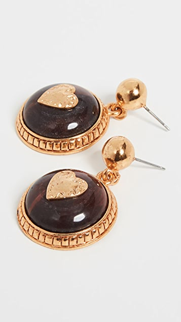 Oscar de la Renta Multi Color Single Disk Earrings