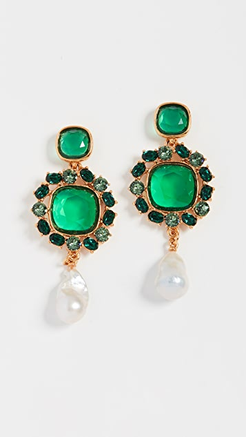 Baroque Pearl Jewel Earrings by Oscar De La Renta