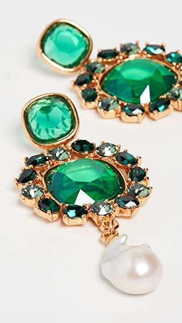 Oscar de la Renta Baroque Pearl Jewel Earrings