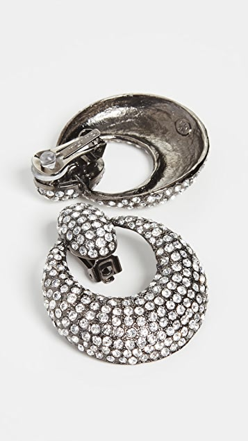 Oscar de la Renta Pave Knock Hoop Earrings