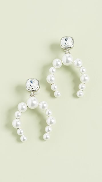 Oscar de la Renta Crystal & Bead Half Hoop Earrings