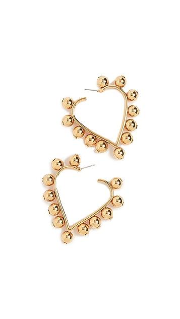 Oscar de la Renta Studded Heart Earrings