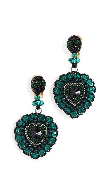Oscar de la Renta Emb Heart Earrings