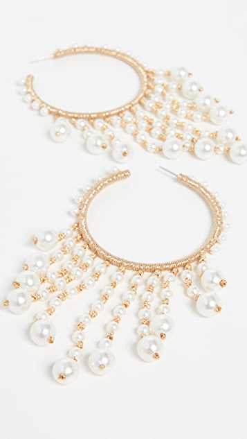 Oscar de la Renta Hoop Earrings with Drop Beading
