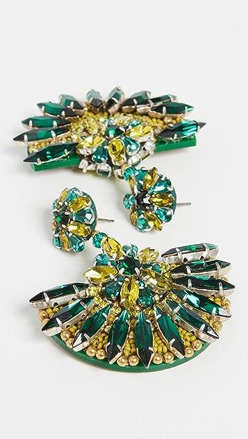 OscardelaRenta Серьги в виде вееров с бусинами и кристаллами