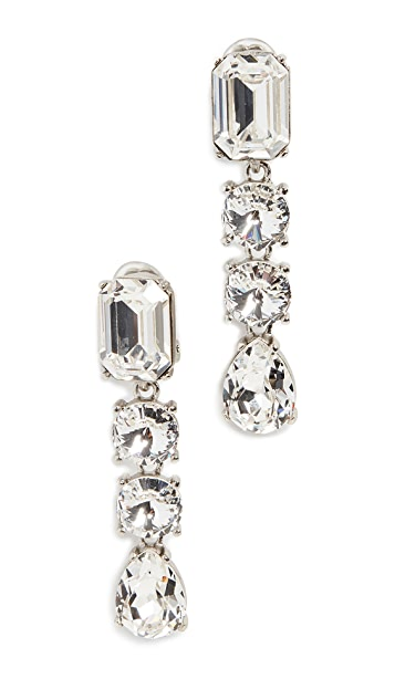 Oscar de la Renta Classic Crystal Large Drop Earrings