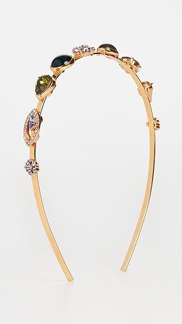 OscardelaRenta Обруч с яркими кристаллами и кабошонами