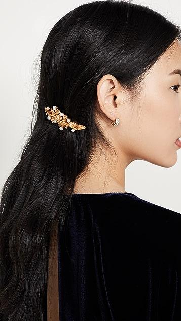 Oscar de la Renta Painted Flower & Imitation Pearl Hair Clip