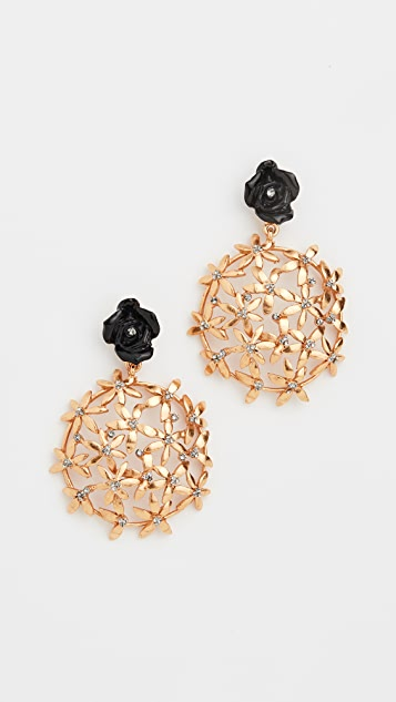 Oscar de la Renta Resin Rose Flower Cluster Earrings